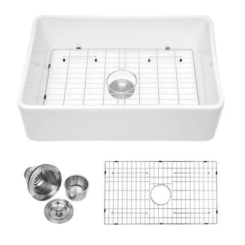 Lordear 30 Inch White Ceramic Fireclay Farmhouse Kitchen Sink