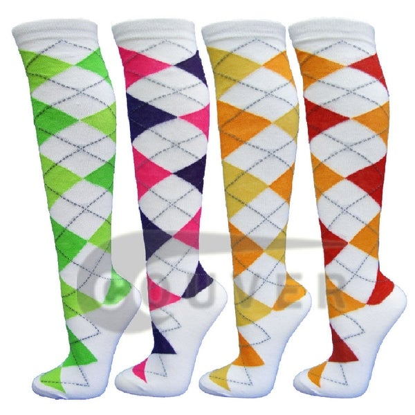 White Argyle Ladies Colorful Variety Design Assorted Knee High Socks(4 packs)