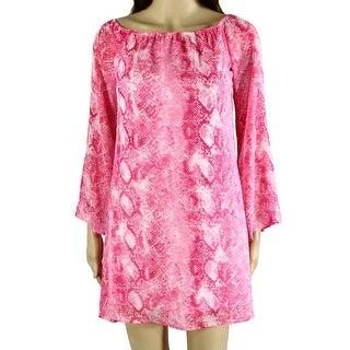 Love...Ady NEW Pink Womens Size Small S Snake-Print Shift Dress