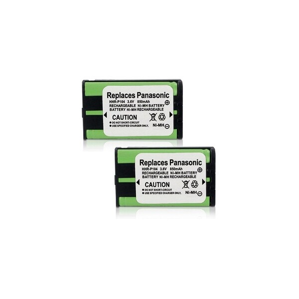 Replacement Battery For Panasonic KX-TG2344 Cordless Phones - P104 (850mAh, 3.6V, Ni-MH) - 2 Pack
