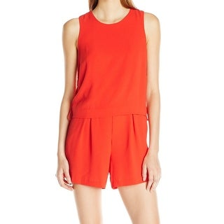Vince Camuto NEW Fiery Red Women's Size 10 Side Lace-Up Solid Romper