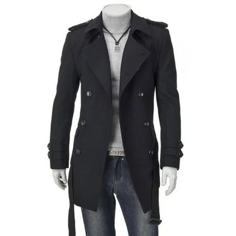 Men's Casual Formal Slim Fit Double Breasted Woolen Coat Fashion Jacket Overcoat