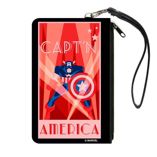 Art Deco Captain America Standing Pose Rays Stars Reds White Canvas Zipper Canvas Zipper Wallet