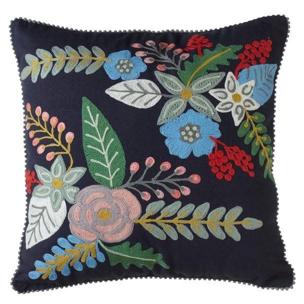 18 Indigo Embroidered Fl Decorative Squared Throw Pillow With Trims