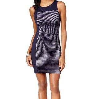 Guess NEW Blue Women's Size 2 Illusion Knit Border Sheath Dress