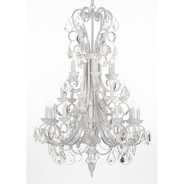 Large Foyer Entryway White Wrought Iron Crystal Chandelier