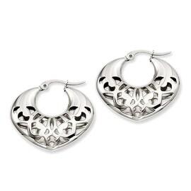 Stainless Steel 30mm Fancy Cutout Hoop Earrings