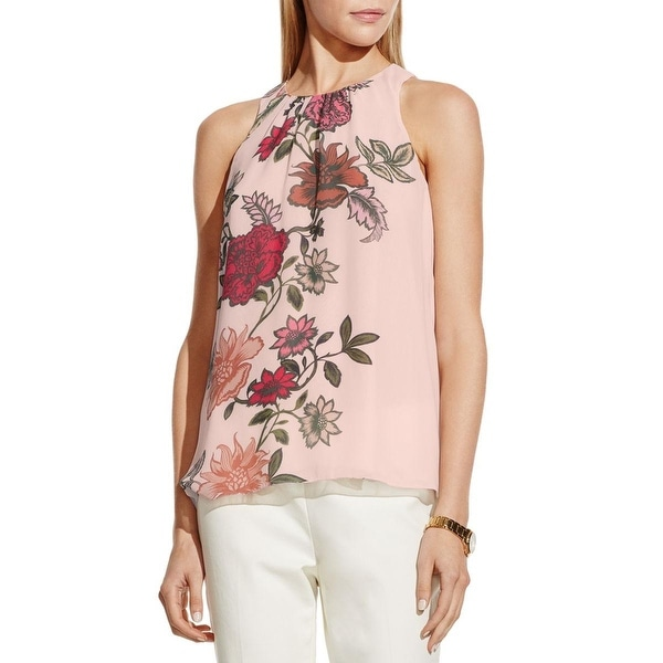Vince Camuto Womens Tunic Top Chiffon Floral Print