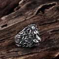 Vienna Jewelry Stainless Steel Lion's Head Ring - Thumbnail 1