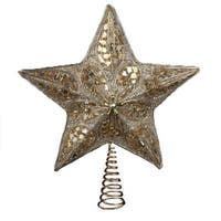 "14"" Seasons of Elegance Silver and Gold Star Tree Topper - Unlit"