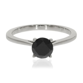 Brand New 1.25 Carat Promg Set Round Black Diamond Solitaire Engagement Ring