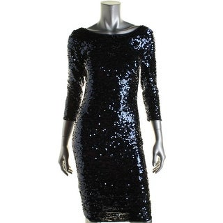 Laundry by Shelli Segal Womens Sequined 3/4 Sleeves Clubwear Dress