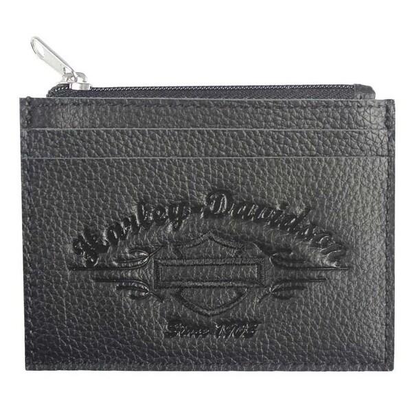"""Harley-Davidson Women's Embossed Script Leather Front Pocket Wallet LSE6191-BLK - 4.5"""" x 3.5"""" x 0.25"""""""