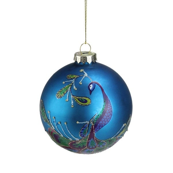 """4"""" Turquoise Blue and Purple Round Glass Ball Christmas Ornament"""