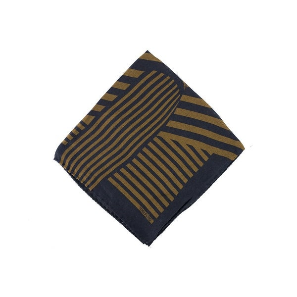 New Tom Ford Brown Black Abstract Stripe Silk Pocket Square