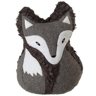 """Set of 2 Fossil Gray and White Fox Face Decorative Door Stoppers 10"""""""