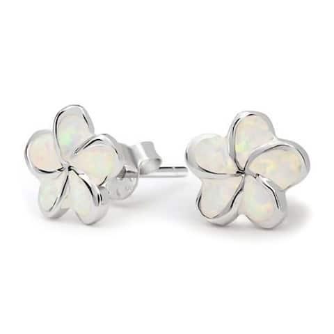White Plumeria Flower Created Opal Stud Earrings For Women 925 Sterling Silver 13MM October Birthstone