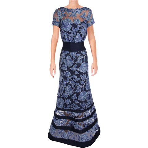 Tadashi Shoji Womens Evening Dress Blouson Embroidered Flowers