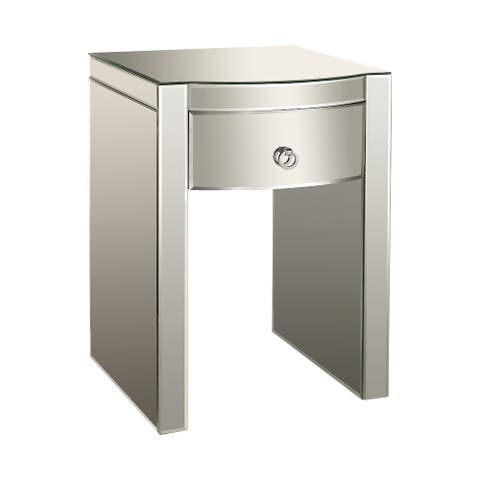 "26"" Silver Wood 1-Drawer Bow-Front Mirrored Nightstand"
