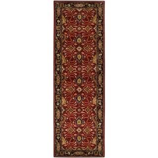 2.5' x 8' Cicero Venetian Red and Caramel Tan Wool Area Throw Rug Runner