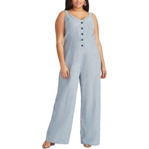 Rachel Rachel Roy Womens Plus Zarita Jumpsuit Wide Leg Striped - Navy White Stripe