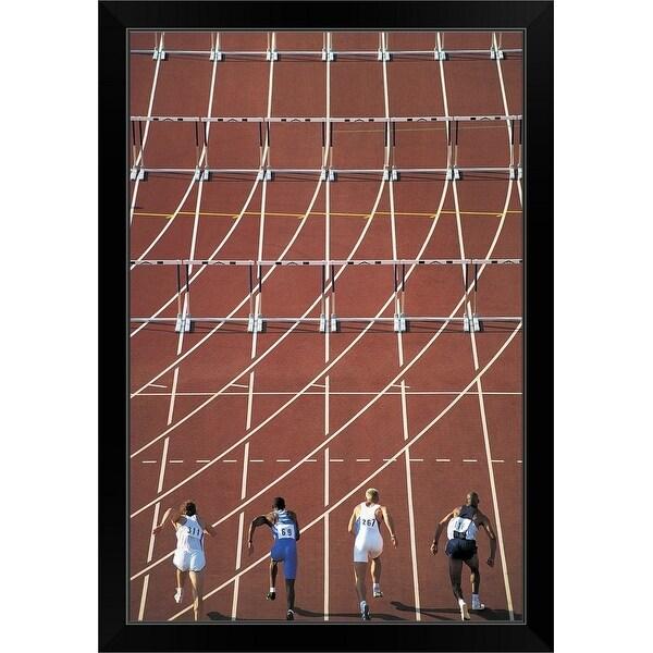 """Athletes Starting to Run Hurdles"" Black Framed Print"
