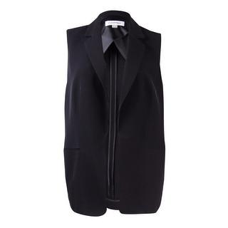 Calvin Klein Women's Plus Size Woven Open Front Vest - Black