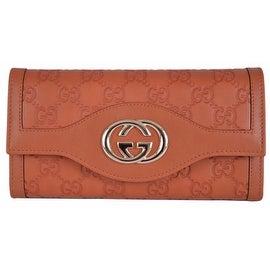 New Gucci 282434 GG Guccissima Burnt Orange Leather Sukey Continental Wallet
