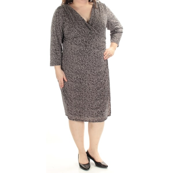 82e13e055546 Shop Ralph Lauren Womens Black 3/4 Sleeve V Neck Below The Knee Sheath Dress  Plus Size: 20W - Free Shipping On Orders Over $45 - Overstock - 21352393