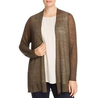 Eileen Fisher Womens Plus Cardigan Sweater Hemp Sheer