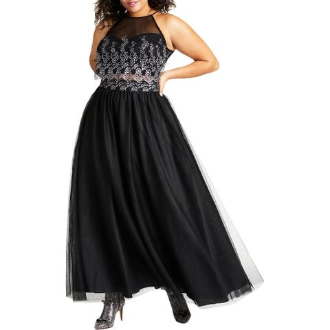 Teeze Me Womens Plus Formal Dress Mermaid Drapey - Black/Silver