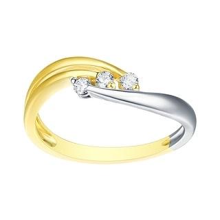 Brand New 3-Stone Round Brilliant Cut Natural Diamond Two Tone Engagement Ring - White G-H