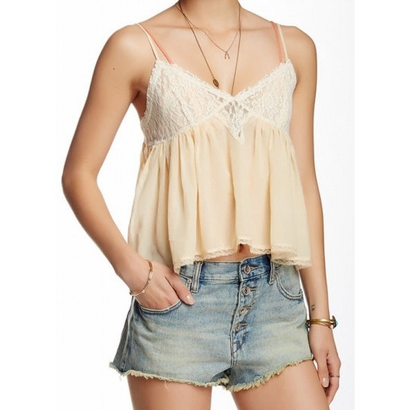 f7f7571853192f Shop Free People NEW Beige Womens Size Small S Lace Ruffled Camisole Top -  Free Shipping On Orders Over $45 - Overstock - 19313537