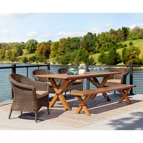 La-Z-Boy Cumberland 6pc Natural and Cafe Brown Dining Set with Bench