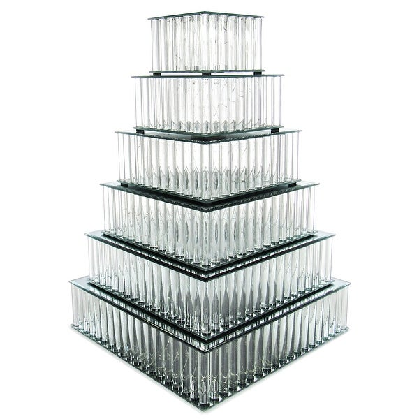 Square Mirror LED Fairy Light Up Glass Columns Cake Stand Dessert Display Tray Riser. Opens flyout.