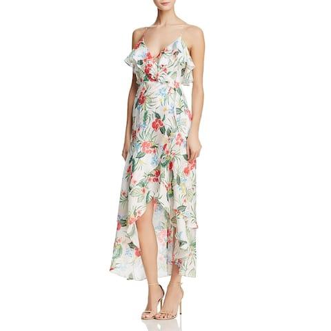Bardot Womens Wrap Dress Floral Print Ruffled - Tropical