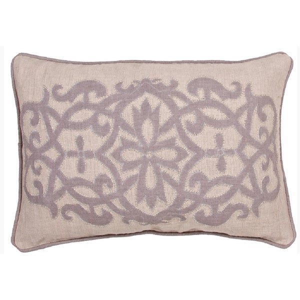 "16"" x 24"" Dove Gray and Sahara Tan Linen Floral Pattern Indoor Decorative Throw Pillow"