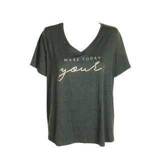 Alfani Plus Size Sage Heather Short-Sleeve Graphic-Print Pajama T-Shirt 1X