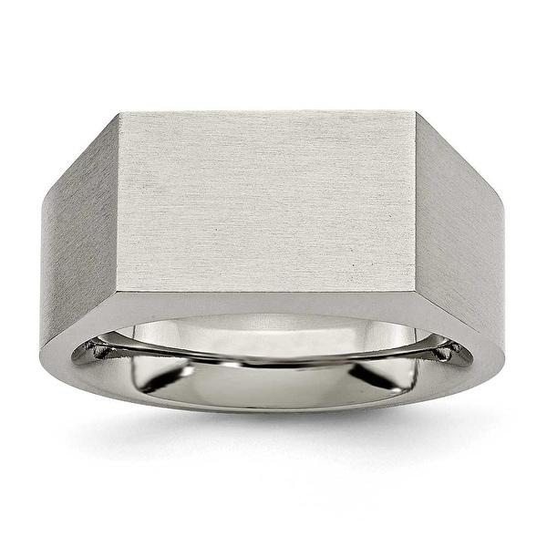 Chisel Titanium Polished and Brushed Signet Ring