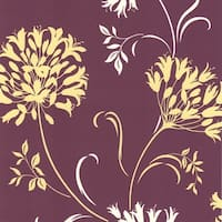Brewster DL30456 Nerida Purple Floral Silhouette Wallpaper - N/A
