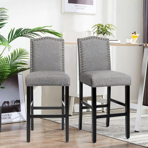 Set of 2 Upholstered Dining Chairs with Solid Wood Legs