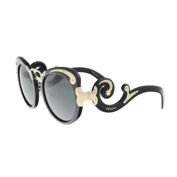 76ed46895941d Shop Prada PR 07TS 1AB1A1 Black Gold Oversized Round Sunglasses - 54 ...
