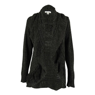John Paul Richard Women's Fringed Ruffled Open Cardigan - heather anthracite - M