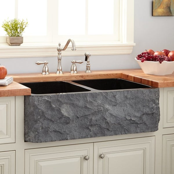 Signature Hardware 908292 33 Polished Granite Double Basin Farmhouse Sink With Chiseled A