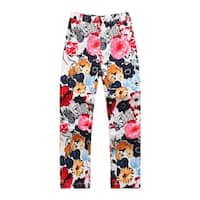 Richie House Girls' Flower Rrinted Trousers with Zip Fly and Snap Closure
