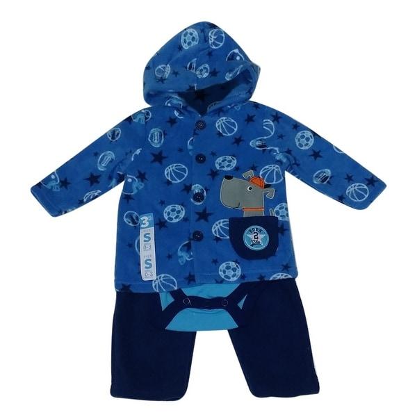 Bon BeBe Baby Boys Blue Dog Applique Hooded Jacket Bodysuit 3 Pc Pant Set