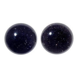 Blue Goldstone Gemstone Round Flat-Back Cabochons 18mm (2 Pieces)