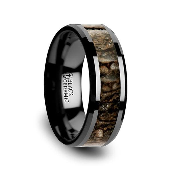 SILURIAN Dinosaur Bone Inlaid Black Ceramic Beveled Edged Ring