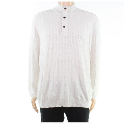 Tasso Elba Mens Sweater White Ivory Size 2XL Henley Pullover Knit