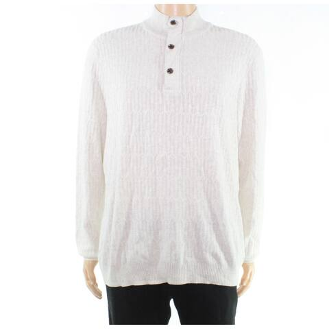 Tasso Elba Mens Sweater White Ivory Size Large L Henley Mock-Neck